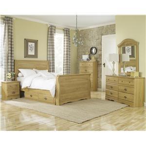Lang Oak Creek Queen Sleigh Bed with Storage Bedroom Group