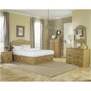 Lang Oak Creek 6 Drawer Queen Panel Bed Bedroom Group