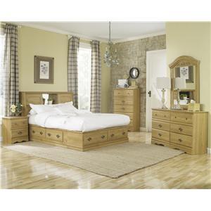 Lang Oak Creek 4 Drawer Queen Bookcase Bed Bedroom Group