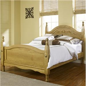 Oak Creek King Wood Post Bed with Decorative Applique by Lang
