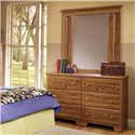 Lang Shaker 49 Inch 6 Drawer Dresser and Mirror Set    - Item Number: SHA-H-649+SHA-H-3843