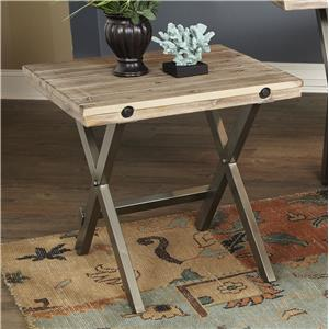 Callista Rustic Casual Square End Table with Metal Details by Largo