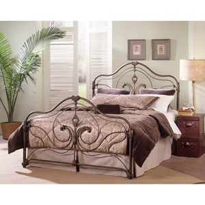 Provence Queen Steel and Aluminum Bed with Antique Gold Finish and Hand Painted Accents by Largo
