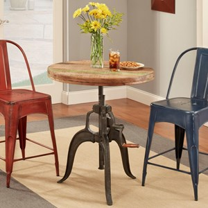 Largo Rustic Collectibles Round Wood Adjustable Height Table