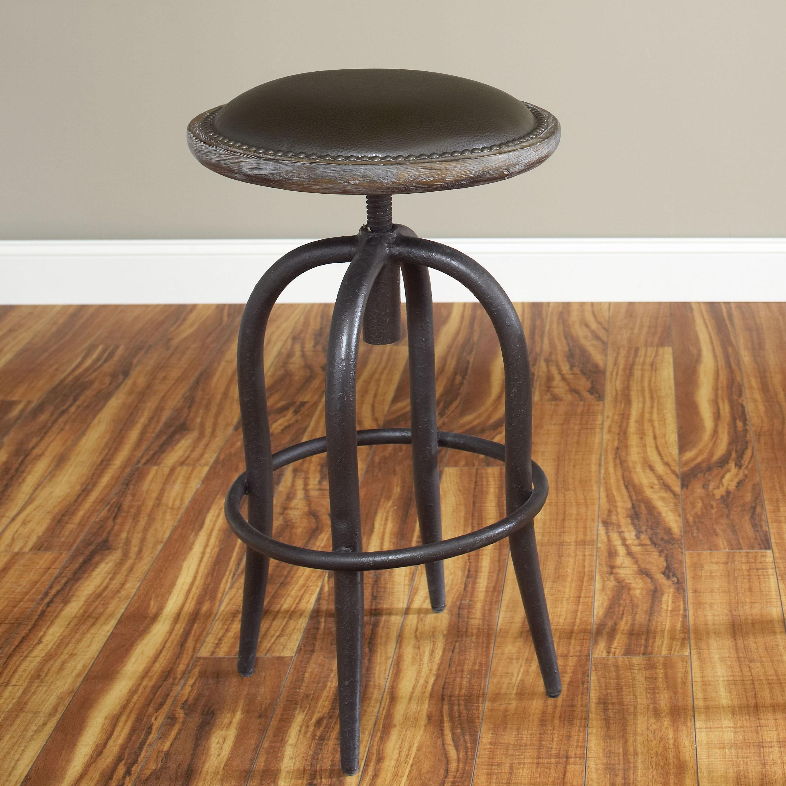 largo whitney adjustable height steel and bicast leather bar  - largo whitney  bar stool  item number d