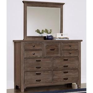 Transitional 9 Drawer Master Dresser and Master Landscape Mirror