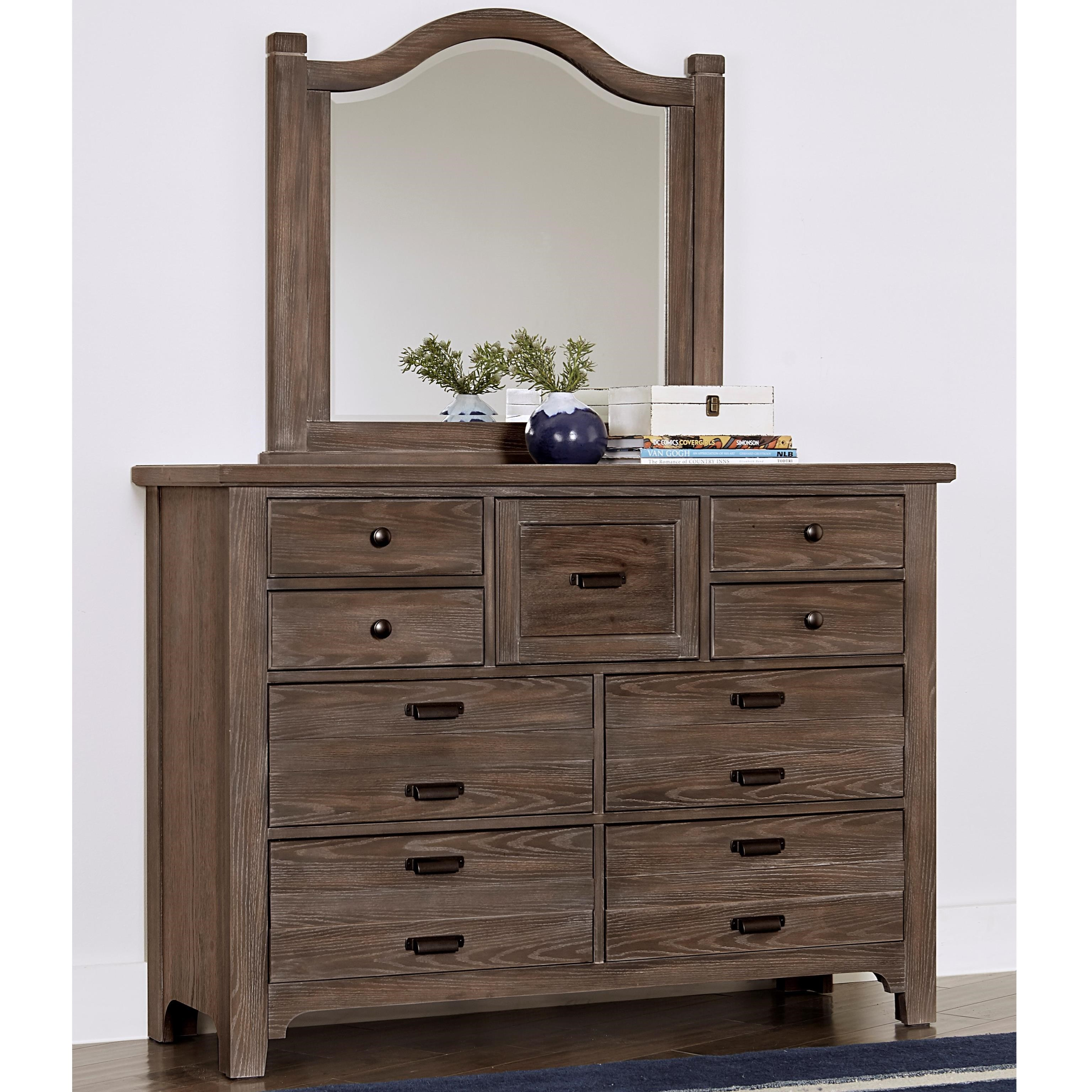 Bungalow Master Dresser with Master Arch Mirror by Laurel Mercantile Co. at Johnny Janosik