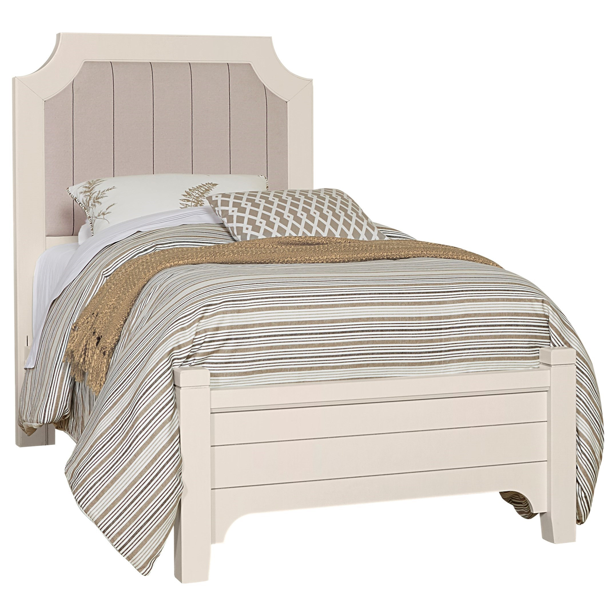Vaughan Bassett Bungalow Transitional Twin Upholstered Bed With Low Profile Footboard Crowley Furniture Mattress Upholstered Beds