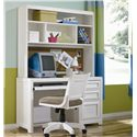 Lea Industries Elite - Reflections Single Pedestal Desk with 3 Drawers and Pullout Keyboard Tray - 876-345 - Shown with hutch