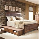 Lea Industries Elite - Crossover Queen Slat Headboard & Footboard Bed with Underbed Drawer Box - 826-950+951+097+915 - Storage Drawer Box Fits Easily on Either Side of the Bed