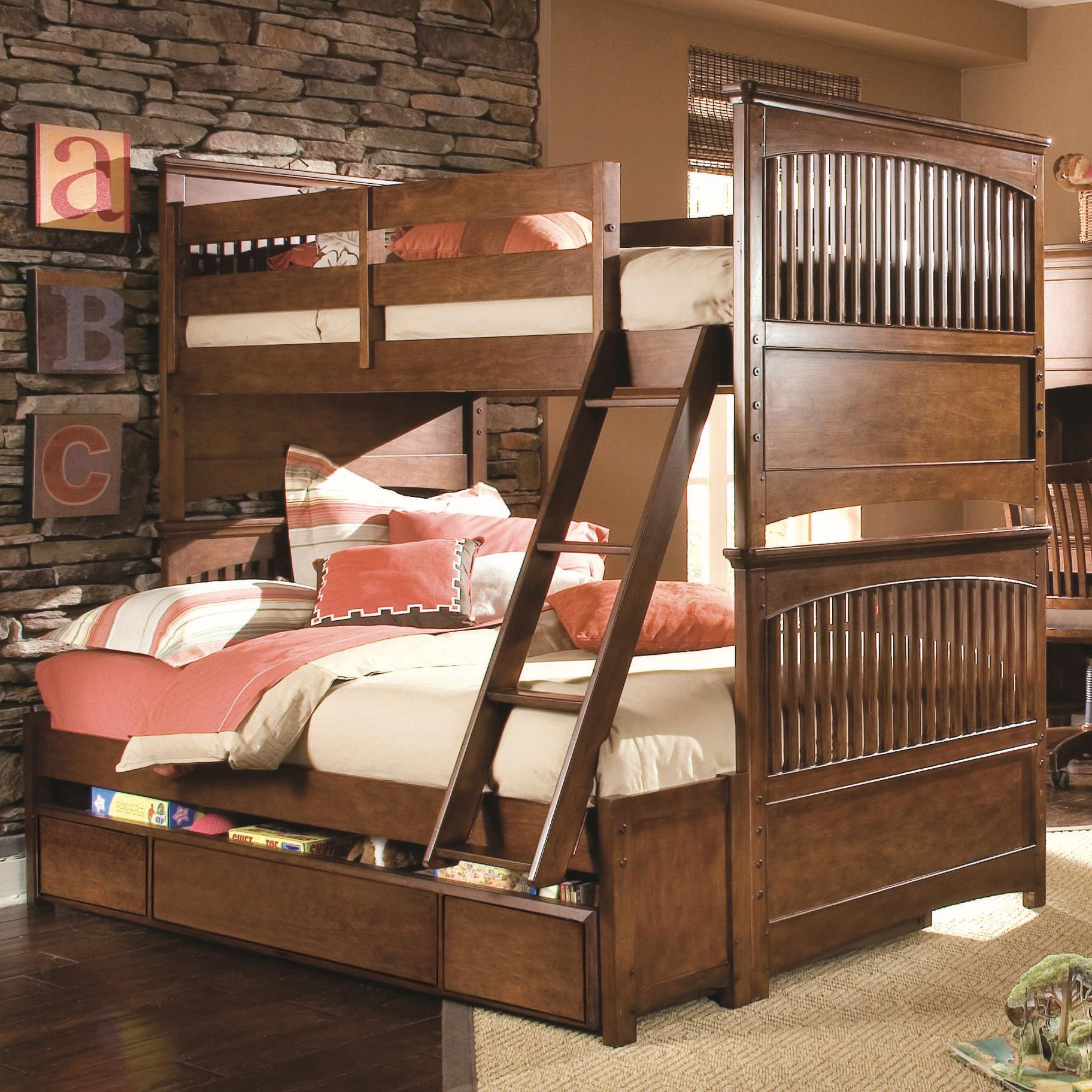 lea industries elite crossover twin over full bunk bed with dual