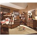 Lea Industries Elite - Crossover Twin-Over-Full Bunk Bed with Dual Underbed Storage - 826-976R+980+SP46+910 - Shown with Desk, Hutch, Desk Chair, Dresser, and Mirror