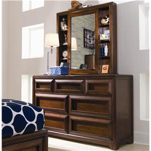 Lea Industries Elite - Expressions Cabinet Mirror and Shelves with 7 Drawer Dresser
