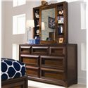 Lea Industries Elite - Expressions Cabinet Mirror and Shelves with 7 Drawer Dresser - 856-040+856-271