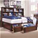 Lea Industries Elite - Expressions Twin Platform Storage Bed with Bookcase Backboard - 856-900+923 - The Storage Back and Bookcase Backboard Offer Ample Organization Space