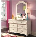 Lea Industries Hannah 6 Drawer Dresser - 147-261 - Shown with Vertical Mirror with Arched Top
