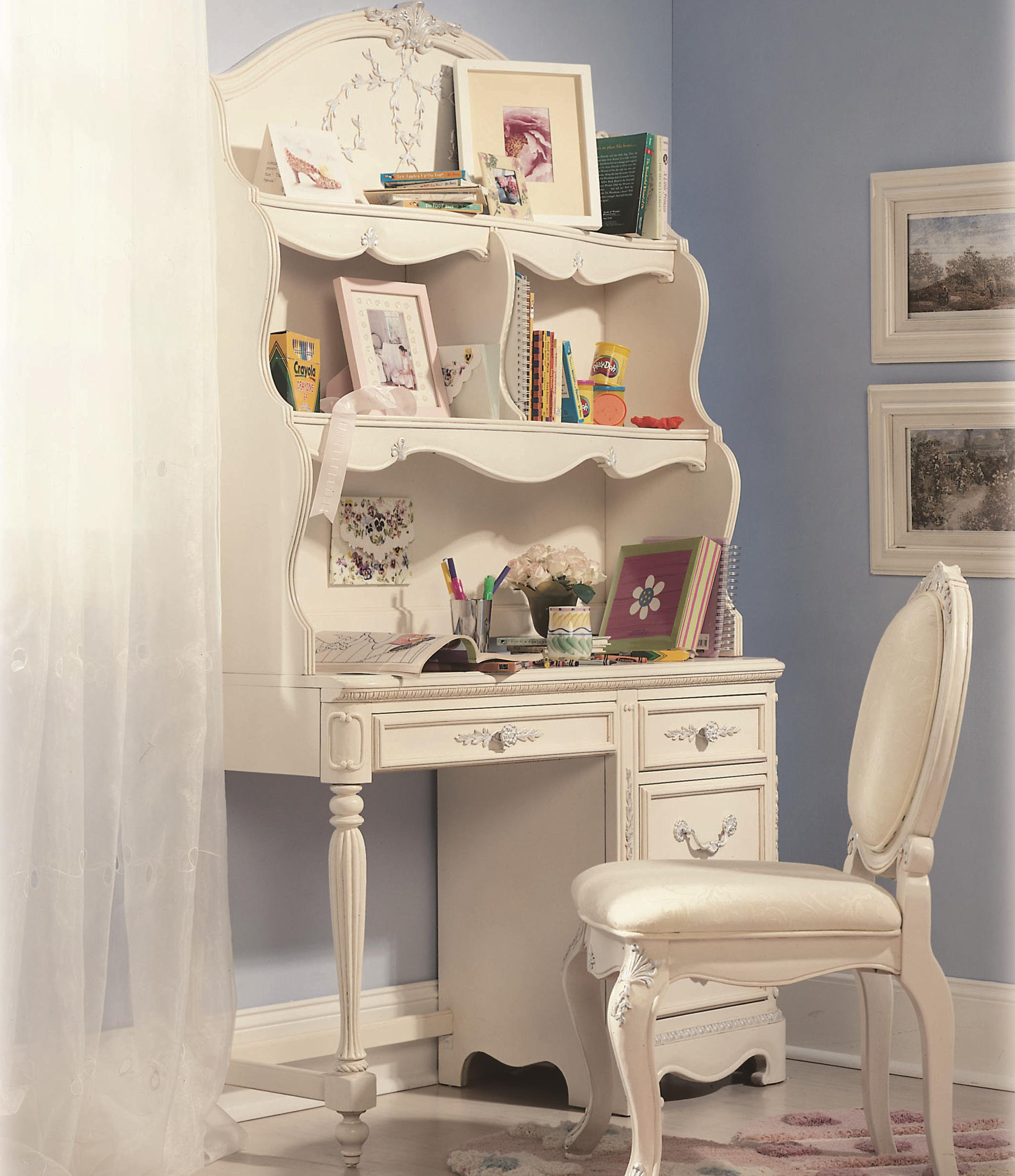 Jessica McClintock Romance Four Drawer Student Desk And Two Fixed Shelf  Large Hutch By Lea Industries