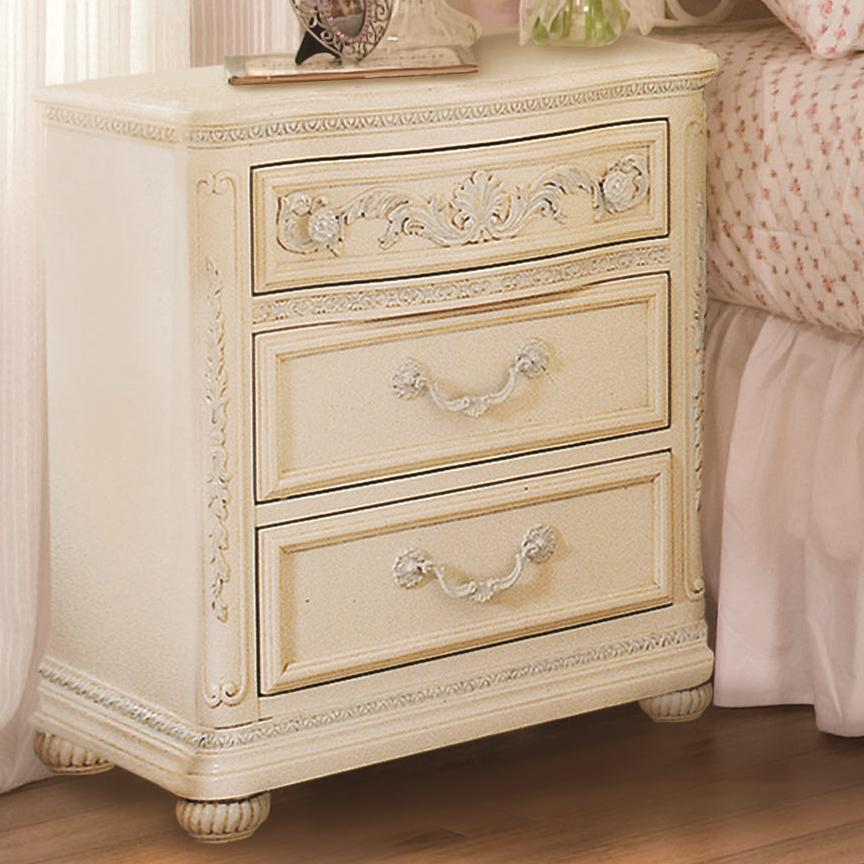 Jessica McClintock Romance Three Drawer Bedroom Strage Nightstand With Bun  Shaped Wood Feet By Lea Industries