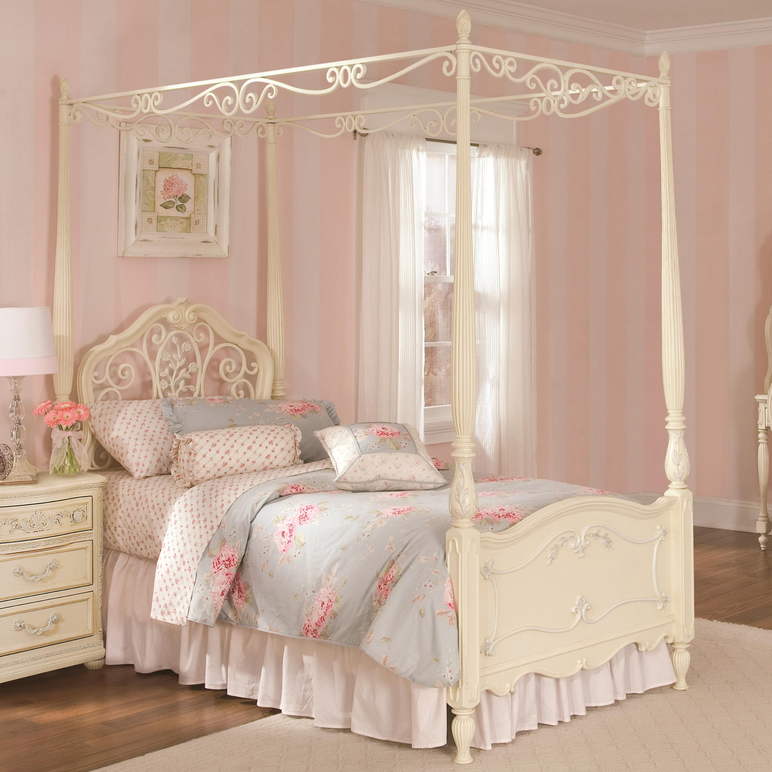 Lea Industries Jessica McClintock Romance Twin-Size Metal u0026 Wood Canopy Bed with Scroll Detailing - AHFA - Canopy Bed Dealer Locator & Lea Industries Jessica McClintock Romance Twin-Size Metal u0026 Wood ...