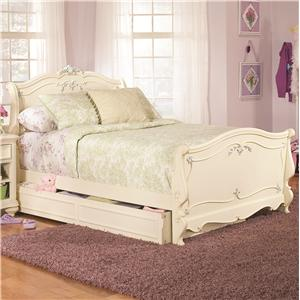 Lea Industries Jessica McClintock Romance Full-Size Traditional Sleigh Bed with Dual Function Underbed Storage Unit