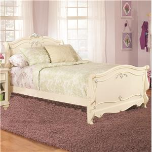 Lea Industries Jessica McClintock Romance Twin Size Traditional Sleigh Bed  With Decorative Carving Details | BigFurnitureWebsite | Sleigh Bed