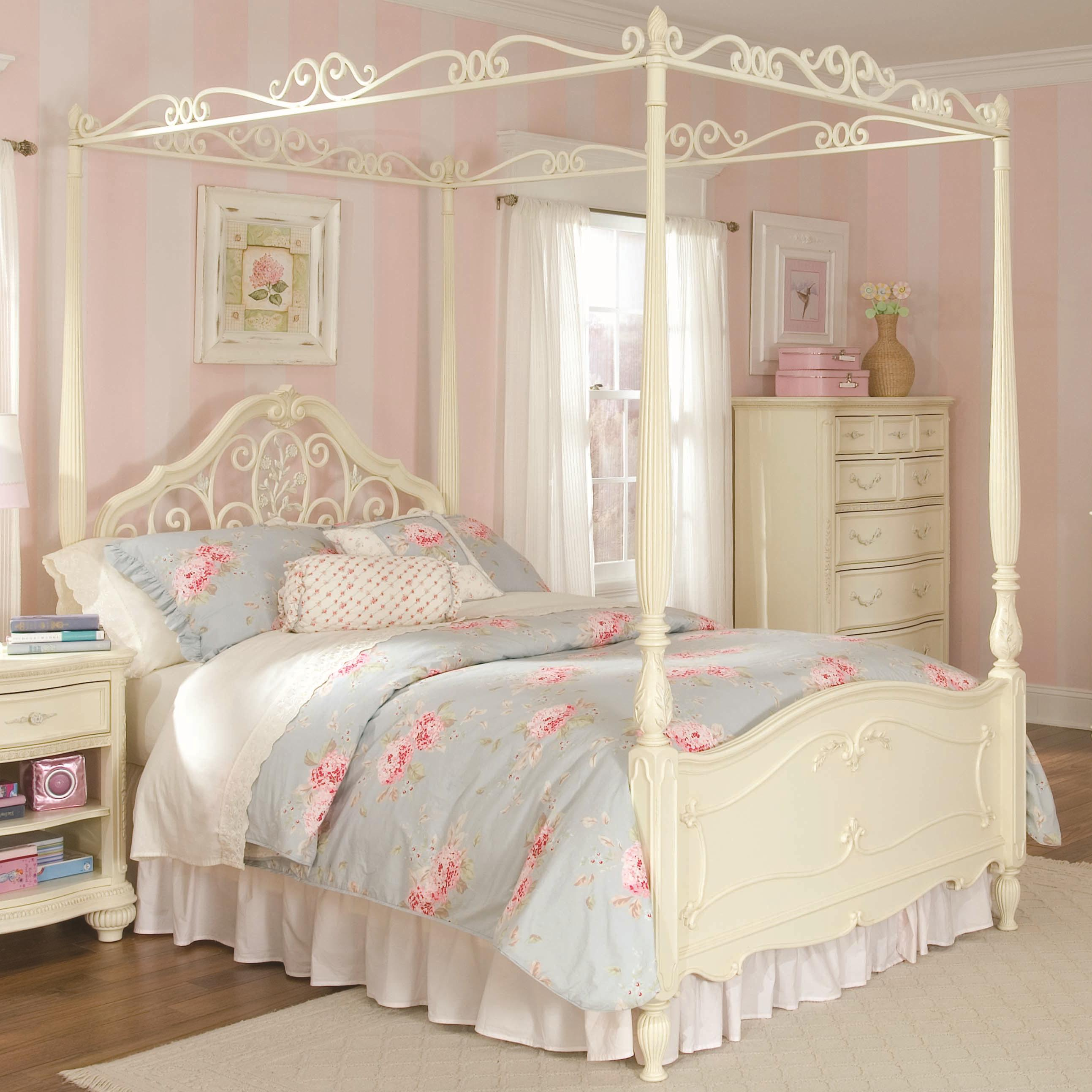Lea Industries Jessica McClintock Romance Full-Size Metal u0026 Wood Canopy Bed with Scroll Detailing - AHFA - Canopy Bed Dealer Locator & Lea Industries Jessica McClintock Romance Full-Size Metal u0026 Wood ...