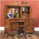 Lea Industries Willow Run Single Pedestal Desk - 244-345 - Shown with Hutch and Swivel Chair