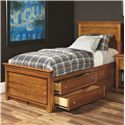 Lea Industries Willow Run Twin Panel Bed with Captain Box Storage - 244-930R+939 - Shown with Captain Drawers Pulled Out
