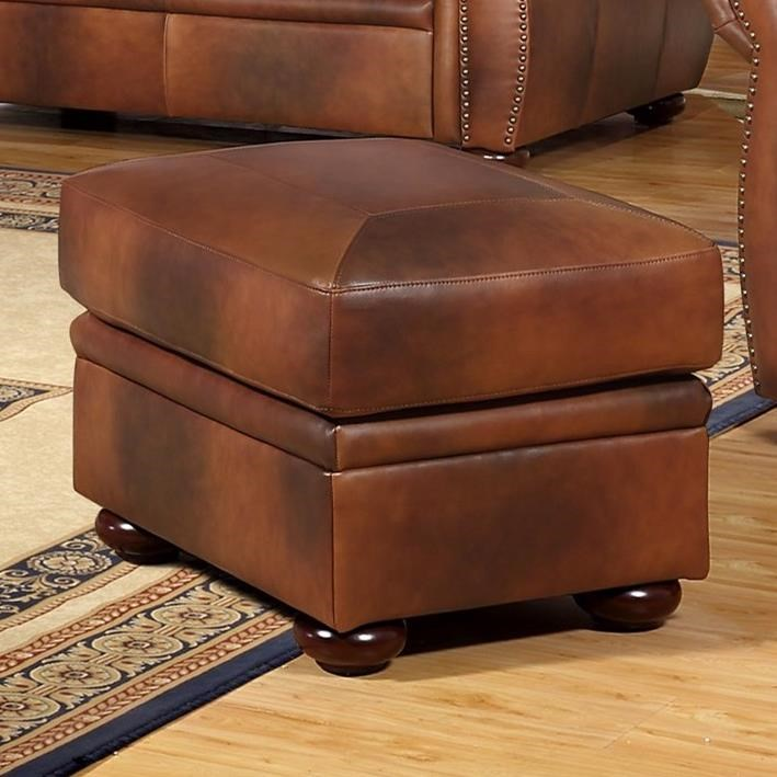 Arizona Leather Ottoman by Leather Italia USA at Home Furnishings Direct