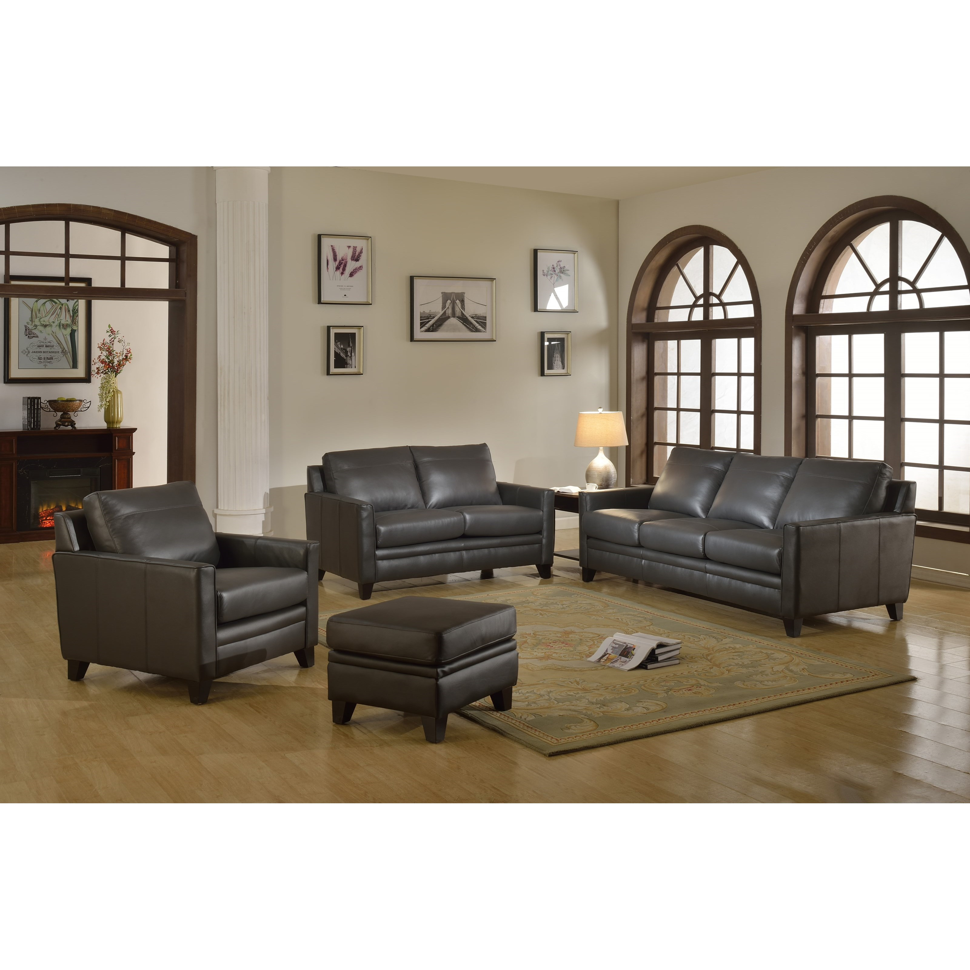 Fletcher Leather Living Room Group by Leather Italia USA at Corner Furniture