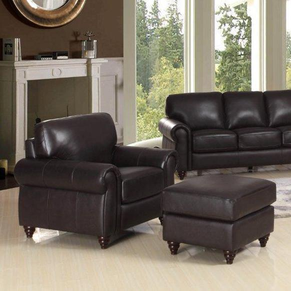 Leather Italia USA Amherst Chair and Ottoman - Item Number: 9529-011382+001382