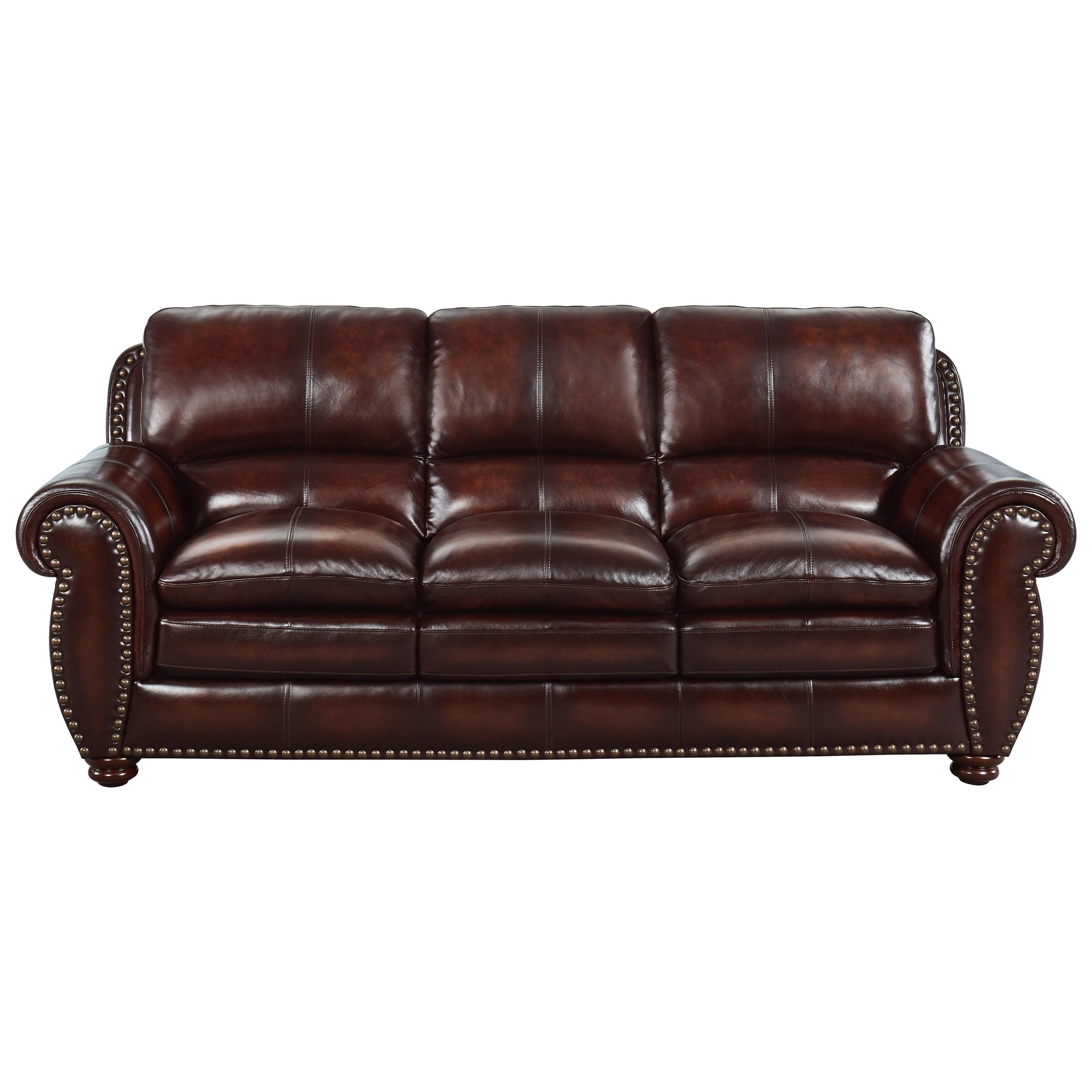 Leather Roll-Arm Sofa