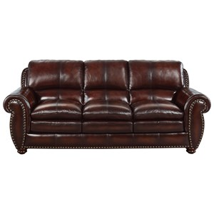 Leather Roll-Arm Sofa