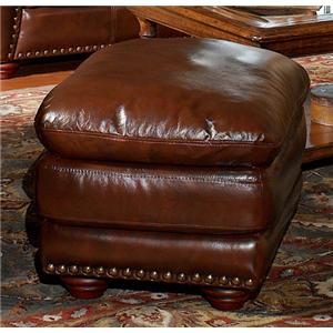 Aspen Leather Ottoman with Nailhead Trim by Leather Italia USA