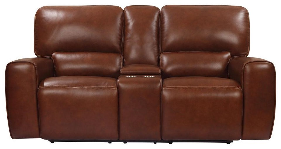 Broadway Power Console Loveseat by Leather Italia USA at Johnny Janosik