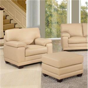 Leather Italia USA Carlisle Chair and Ottoman