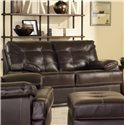 Leather Italia USA Dalton Contemporary Loveseat with Contrast Stitching - S6817-023537