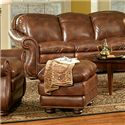 Leather Italia USA Duplin Traditional Leather Ottoman with Nailhead Trim - S9913-00