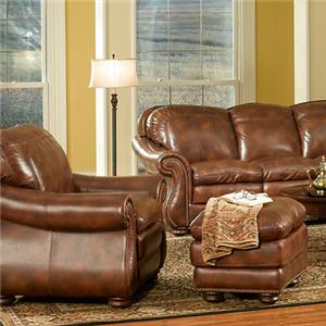 Duplin Traditional Leather Chair and Ottoman with Nailhead Trim by Leather Italia USA