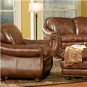 Leather Italia USA Duplin Traditional Leather Chair with Curved Back - S9913-01