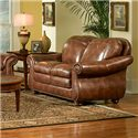 Leather Italia USA Duplin Traditional Leather Loveseat with Curved Back - S9913-02