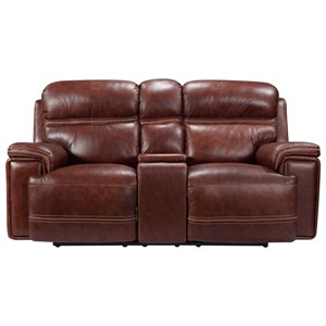 Power Leather Reclining Console Loveseat with Power Tilt Headrests, Lay Flat, USB Ports