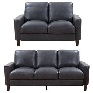2PC Leather Sofa & Loveseat Set