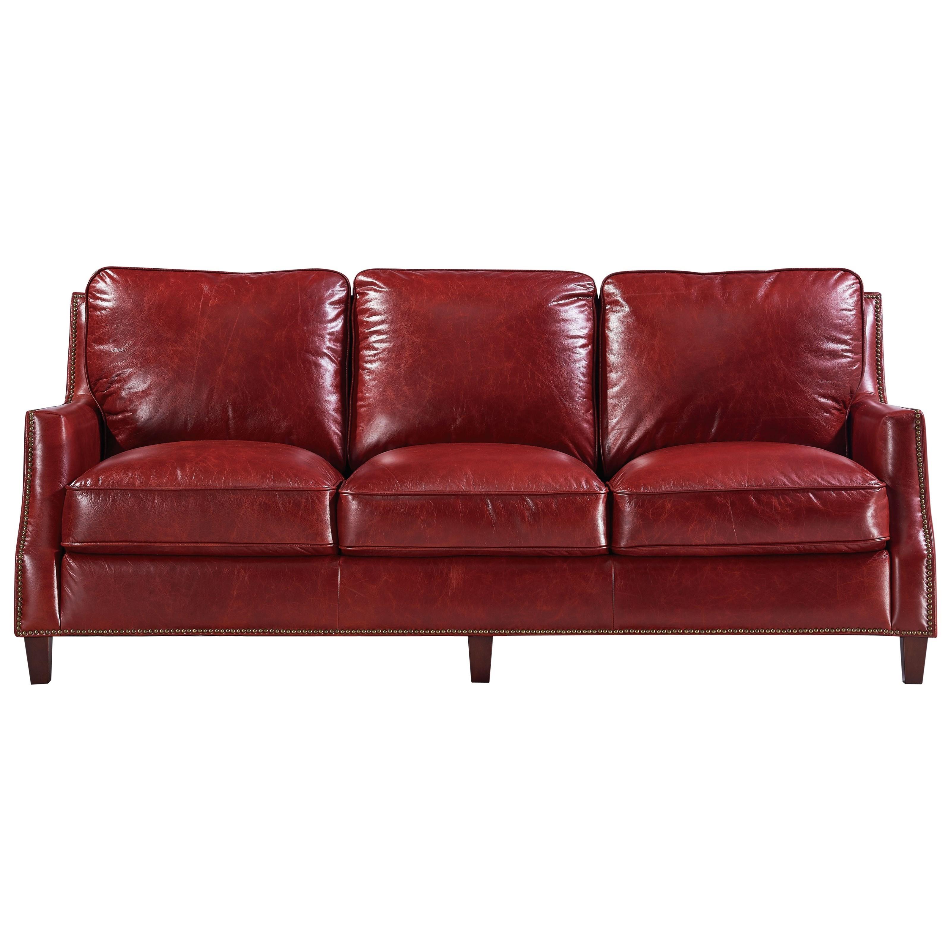 Georgetowne - Oakridge Transitional Leather Sofa with Nailhead Trim by  Leather Italia USA at Lindy\'s Furniture Company