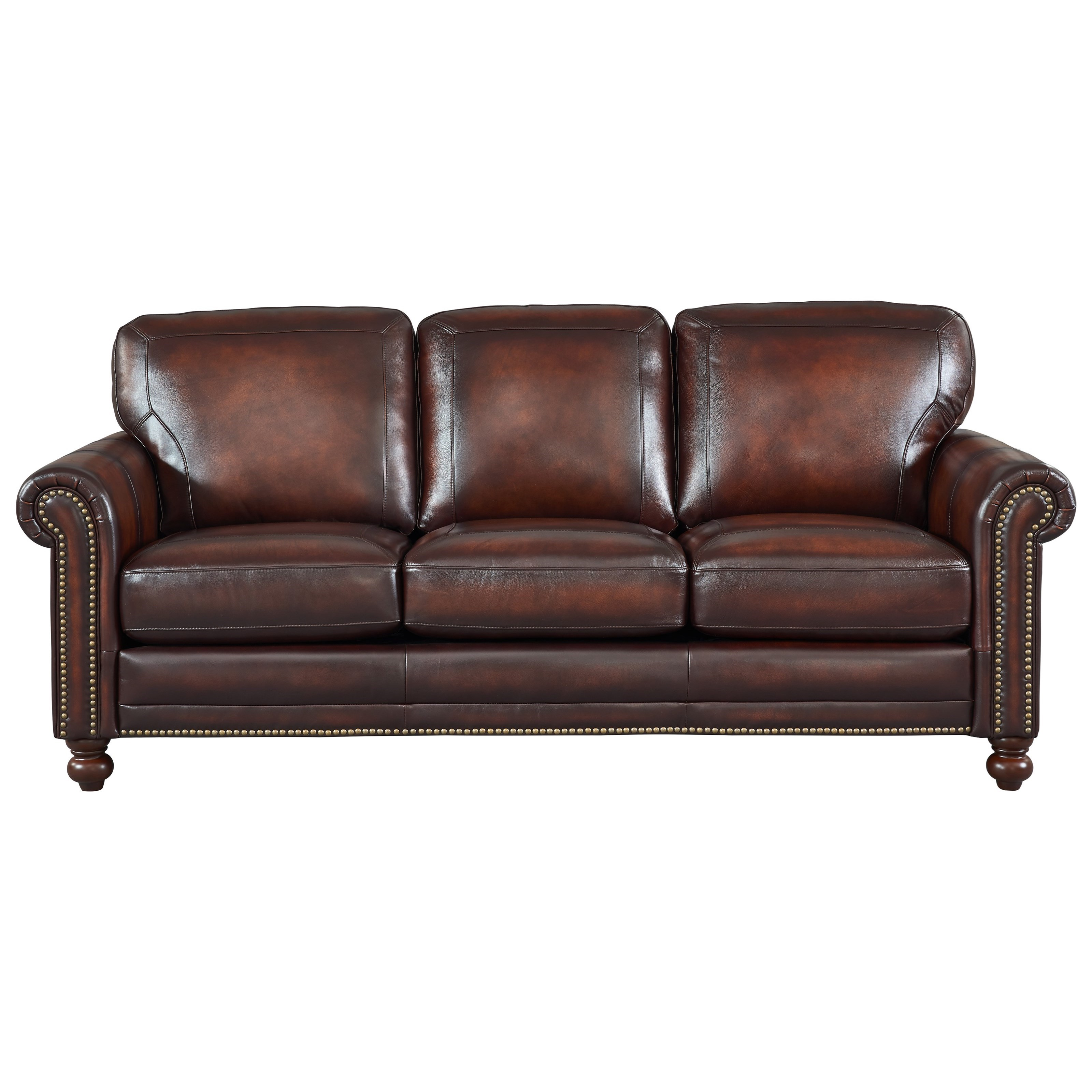 Westin Leather Sofa w/ Roll Arms & Nailhead Trim | Rotmans | Sofas