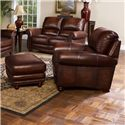 Leather Italia USA James Traditional Leather Ottoman with Bun Wood Feet and Nailhead Trim - S9922-00 - Shown with Chair