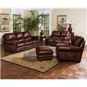 Leather Italia USA James Traditional Leather Ottoman with Bun Wood Feet and Nailhead Trim - S9922-00 - Shown with Sofa, Loveseat and Chair