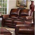 Leather Italia USA James Traditional Leather Loveseat with Rolled Arms and Nailhead Trim - S9922-02