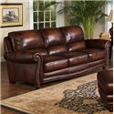 Leather Italia USA James Traditional Leather Sofa with Rolled Arms and Nailhead Trim - S9922-03