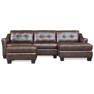 Contemporary 2-Piece Leather Sectional with Chaise